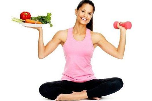 гантельки и овощи