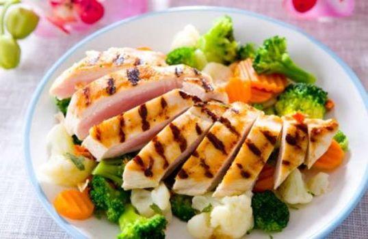 нежирное мясо с овощами