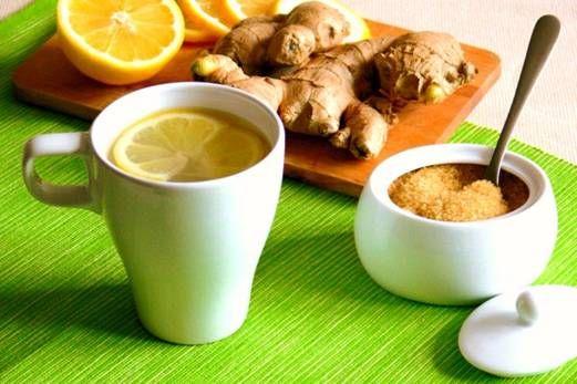 имбирный чай с лимоном и сахаром